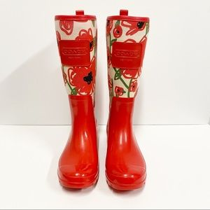 Coach Red Poppy Rain Boots
